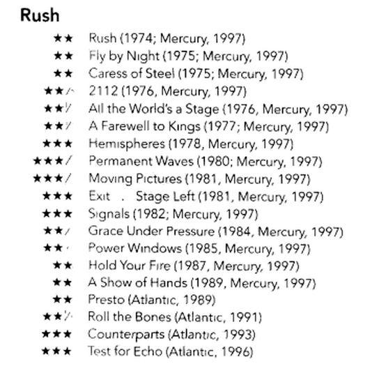 critical collage rush vs the critics rockcritics com rh rockcritics com Rolling Stones Early Albums the new rolling stone album guide 2004