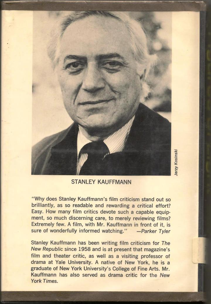 Back cover of Stanley Kauffmann's Figures of Light: Film Criticism and Comment (1971)